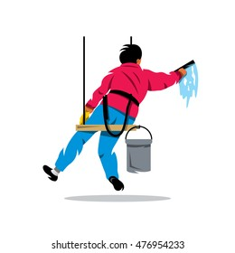Vector Window washer. Cleaning service. Cartoon Illustration. Man with bucket of water and scraper. Unusual Logo template isolated on a white background