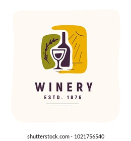 Vector wine alcohol logo set isolated on white background. Hand drawn bottle, glass elements, icons. Perfect for restaurant, cafe, catering bars and winery hall insignia banners, symbols etc.