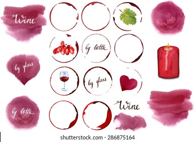 Vector wine design set: a collection of watercolor drawings and design elements, including stains of various shapes, words 'wine', 'by glass', 'by bottle', glass of wine, vine leaf, grapes, candle