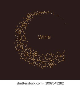 Vector wine emblem. Leaves and grapes