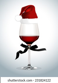 Vector of Wine glass with Santa hat