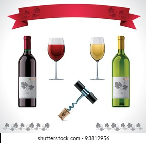 Vector wine icon set. Includes bottles, glasses, bottle opener