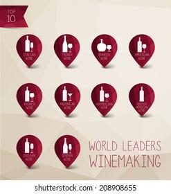 Vector  wine icon world leaders winemaking, Italian wine, French wine, Spanish wine, American wine, Chinese wine, Argentine wine, Australian wine, South african wine, Chilian wine, German wine