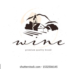 Vector wine label logo design template with hand drawn landscape village vinery illustration and text sample isolated on white background. For family vineyard brand, restaurant menu, bar etc.