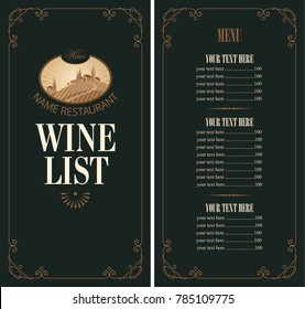 Vector Wine list with a price list. Wine menu for restaurant or cafe with the landscape of European village and vineyards in curly frame in retro style on black background