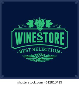 Vector wine logo on dark blue background for wine shop, restaurant menu, winery branding and identity