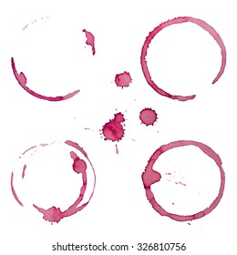 Vector Wine Stain Rings Set 1 Isolated On White Background for Grunge Design