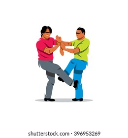 Vector Wing Chun kung fu sparring Cartoon Illustration. People work out fighting skills in tandem. Branding Identity Corporate unusual Logo design template Isolated on a white background