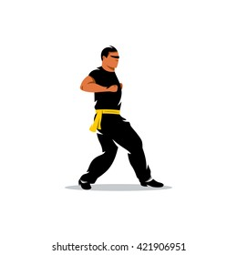 Vector Wing Chun kung fu Man Cartoon Illustration. Man work out fighting skills. Branding Identity Corporate unusual Logo isolated on a white background