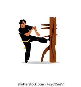 Vector Wing Chun kung fu Man at a wooden dummy. Cartoon Illustration. Man work out fighting skills. Branding Identity Corporate unusual Logo isolated on a white background