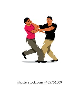 Vector Wing Chun kung fu sparring Cartoon Illustration. Two people work out fighting skills in tandem with each other. Branding Identity Corporate unusual Logo isolated on a white background