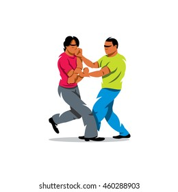 Vector Wing Chun kung fu sparring Cartoon Illustration. Two people work out fighting skills in tandem with each other. Unusual Logo template isolated on a white background