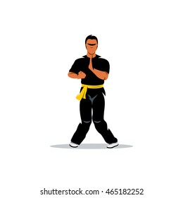 Vector Wing Chun kung fu Cartoon Illustration. Man work out fighting skills. Unusual Logo template isolated on a white background
