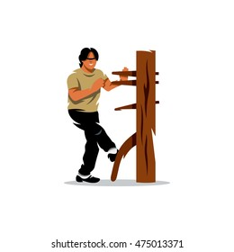 Vector Wing Chun kung fu Man at a wooden dummy. Cartoon Illustration. Boy work out fighting skills. Unusual Logo template isolated on a white background