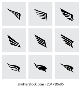 Vector wing icon set on grey background