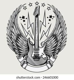 Vector winged guitar emblem