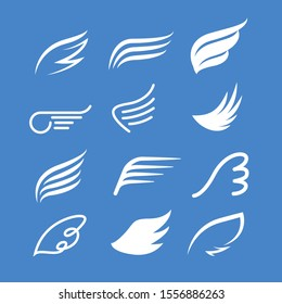 Vector wings icon set. Bird or angel wing silhouette illustration design feather.