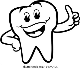 vector winking happy smiling tooth - black and white version