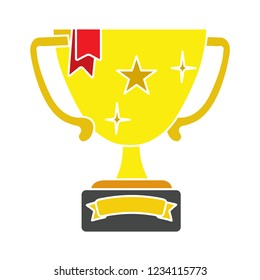 Vector winner trophy cup illustration.golden cup prize symbol - golden achievement vector