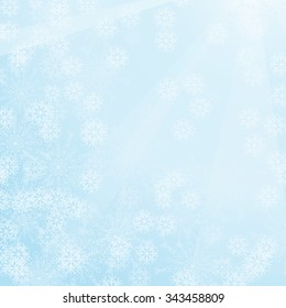 Vector winter abstract background in light colors with snow.