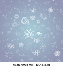 Vector Winter background with flay white snowflake