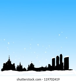 Vector winter background with  Moscow silhouette skyline