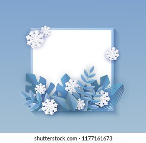 Vector winter background template with abstract fresh blue leaves and snowflakes with square frame text space. New year, christmas holidays wallpaper, layout with seasonal florals and icy snow