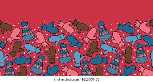 Vector winter border in red and blue. Simple doodle glove and beanie hand drawn made into repeat. Great for invitations, decor, packaging, ribbon, greeting cards, stationary.
