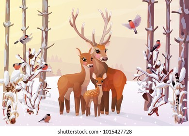 vector winter christmas illustration. Horizontal pastel cartoon snowy forest panorama, family Red deers and finches. Handdrawn woodland wildlife wallpaper. Nursery wall baby decor. Wild outdoor concep