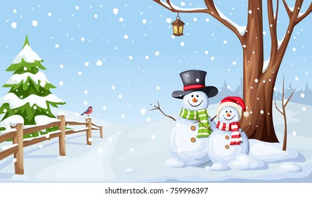 Vector winter Christmas landscape with snowmen and snowfall.