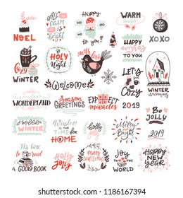 Vector winter and Christmas lettering. Scandinavian set with holiday Elements. Mittens, cocoa, wreath, mistletoe, gift box, Santa, bird. Typographic design. Vector illustration.