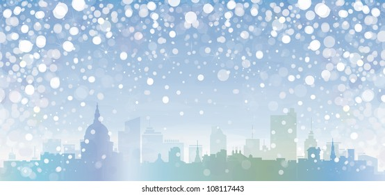 Vector of winter cityscape.