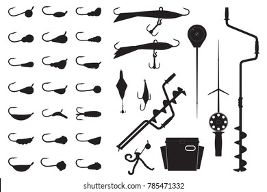 Vector winter fishing set. Silhouette of ice screw, hook, jig lure, rod, box, spoon and mormyshka