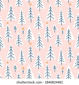 Vector winter forest seamless pattern. Triangle geometrical fabric design. Fir tree and stars on pink background. Simple and stylish Scandinavian repeat texture.
