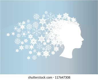 vector winter head silhouette