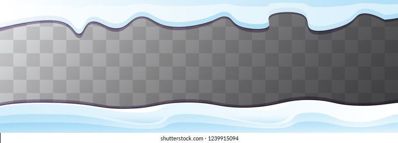 vector winter horizontal banner with snow caps isolated on transparent background. winter snow border or frame for winter sale or christmas banner design template.