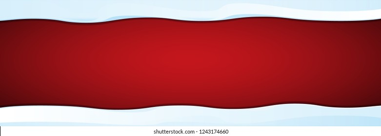 vector winter horizontal banner with snow caps isolated on christmas red background. winter snow border or frame for winter sale or christmas banner design template.