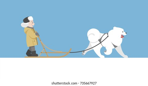 Vector winter illustration. Sledding with samoyed dog. Children holidays.