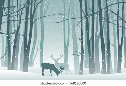 Vector winter landscape with blue silhouettes of trees in the forest and deer with falling snow