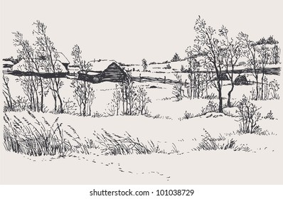 Vector winter landscape. A cold wind on young trees and old wooden huts