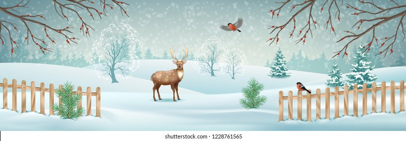 Vector winter landscape with a deer, fence, snow covered hills and birds