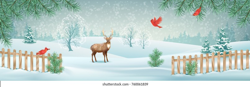 Vector winter landscape with a deer, fence, snow covered hills and red birds