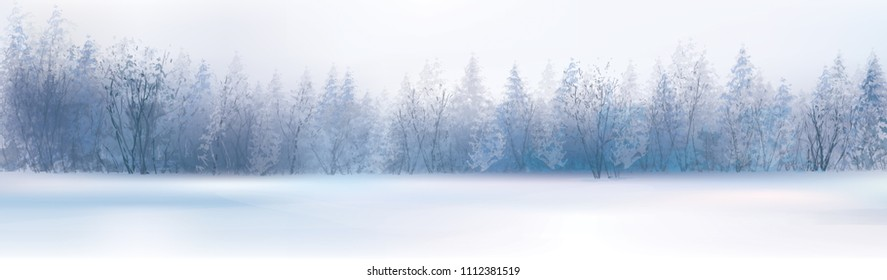 Vector winter landscape with forest background.