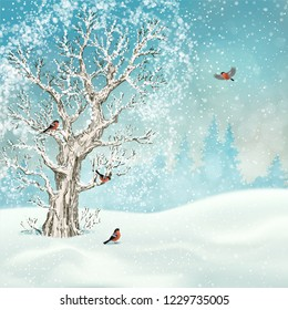 Vector winter landscape. Frosty tree, snow-covered hills and birds bullfinches