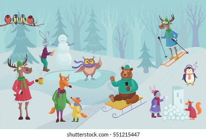 Vector winter landscape with funny little cartoon animals in clothes. Games on the snow.