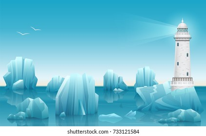 Vector Winter landscape of Lighthouse in the ice arctic ocean or sea with icebergs.