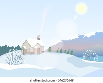 Vector winter landscape. A lone house with a chimney. The smoke from the chimney. Winter trees and bushes in the snow.