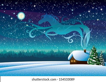 Vector winter landscape with snow hut and magic horse silhouette on a starry night background.