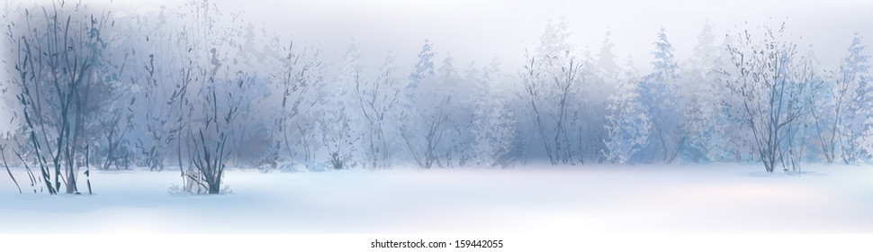 Vector of winter landscape, snowy forest.