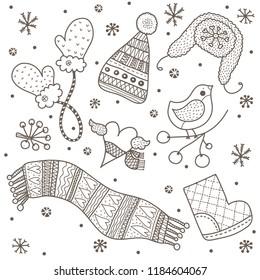 Vector winter motif.Cute coloring page.